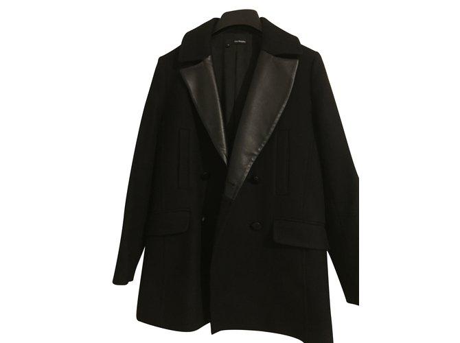 manteaux the kooples manteau style caban laine noir ref. Black Bedroom Furniture Sets. Home Design Ideas