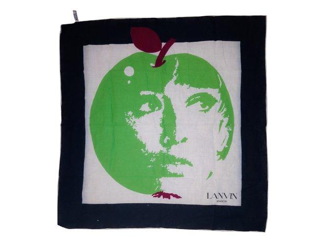 Carrés Lanvin Pomme de lanvin Coton Blanc,Vert ref.51356