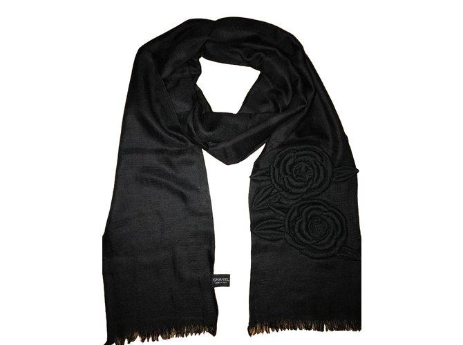 Chanel Scarves Scarves Cashmere Black ref.51461