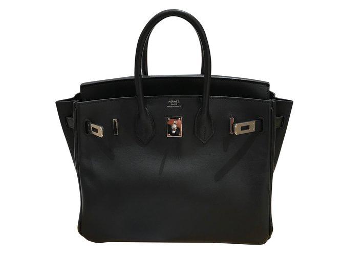 Sacs à main Hermès HERMES Birkin 25 Cuir Noir ref.51521