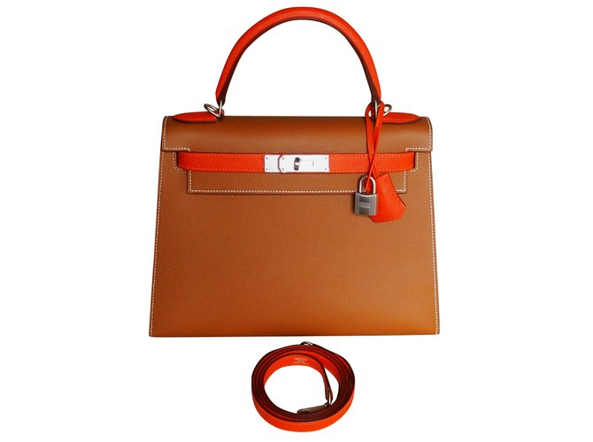 ce1d0c29294d Hermès Kelly 28 Bicolor brushed hardware Handbags Leather Multiple colors  ref.51569