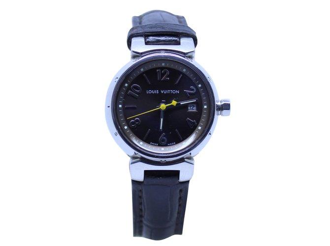 Montres Louis Vuitton Tambour Acier Noir ref.51611 - Joli Closet 954a92ed6f3
