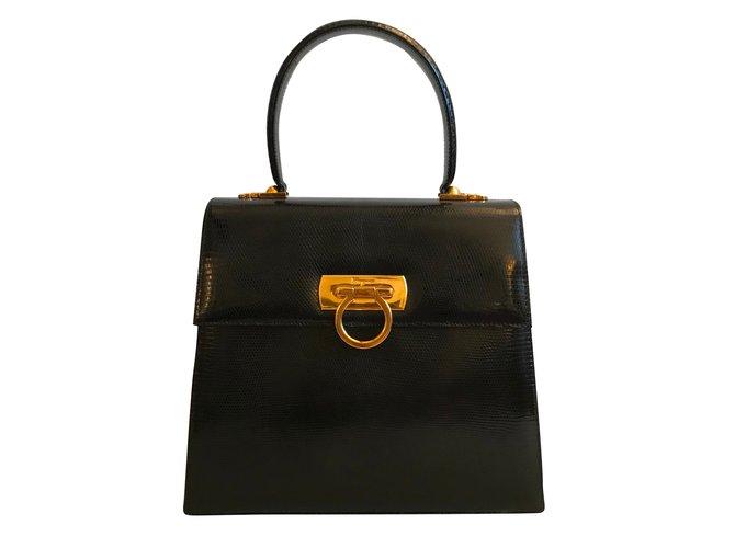 f86e0cb3f Salvatore Ferragamo Handbags Handbags Exotic leather Black ref.51652 ...