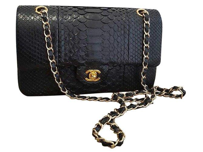 7aedfd8b93205b Chanel 2.55 classic Double flap python Handbags Exotic leather Black  ref.51671