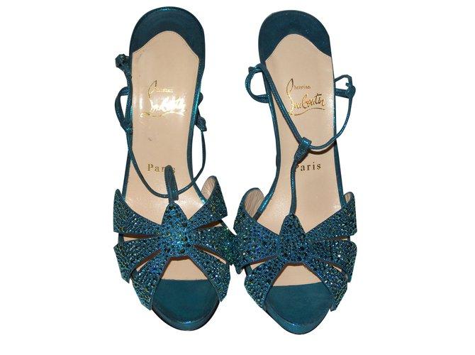 e3aa6bacc7c1 Christian Louboutin Sandals Sandals Cloth Blue ref.51705 - Joli Closet