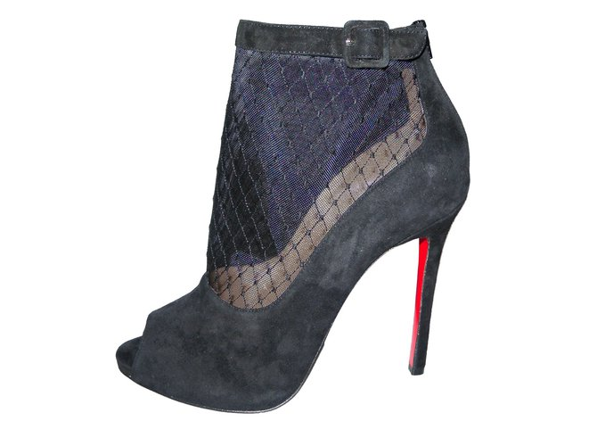 436d84cc11d3 Christian Louboutin Ankle Boots Ankle Boots Deerskin Black ref.51724 ...