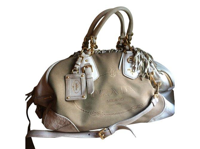 944c0559a3 Prada Handbags Handbags Cloth Beige ref.51775 - Joli Closet