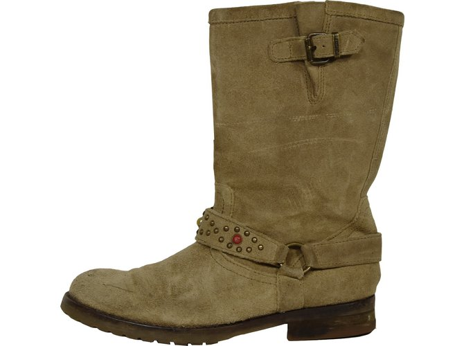 Pom d'Api Boots Boots Deerskin Beige ref.51791