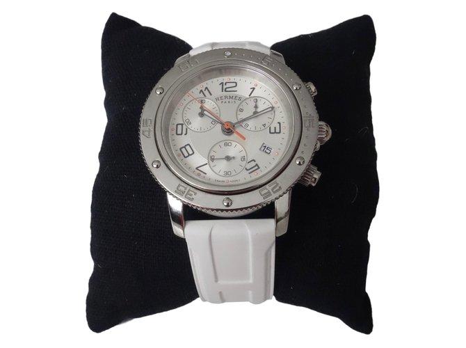 Montres Hermès MONTRE HERMES CLIPPER GM CHRONO POUR DAME Acier Blanc  ref.51818 41cfca7285d