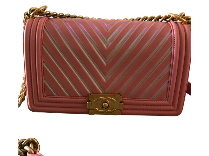 Chanel Chanel chevron boy stripes glitter Handbags Leather Pink ref.51864