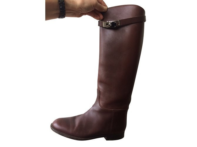 Hermès Boots Boots Leather Brown ref.51871