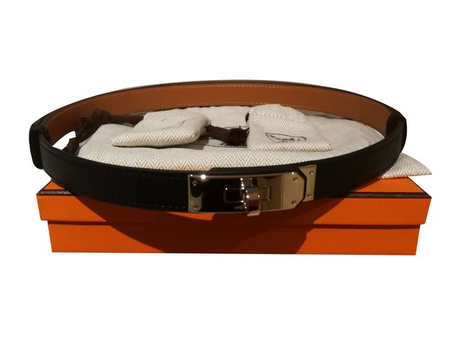 Hermès Kelly Belt Belts Leather Black ref.52291