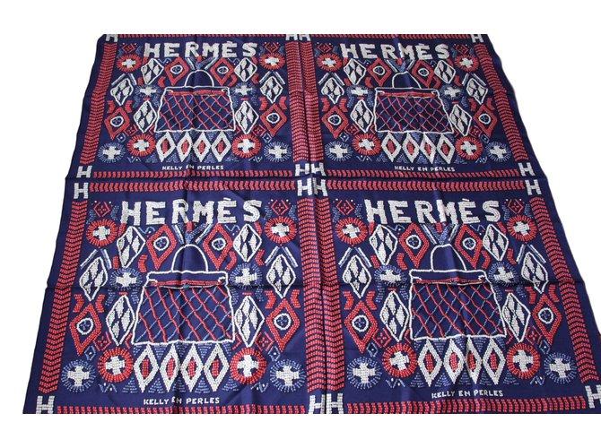 Hermès Kelly en Perles Silk scarves Silk Navy blue ref.52316