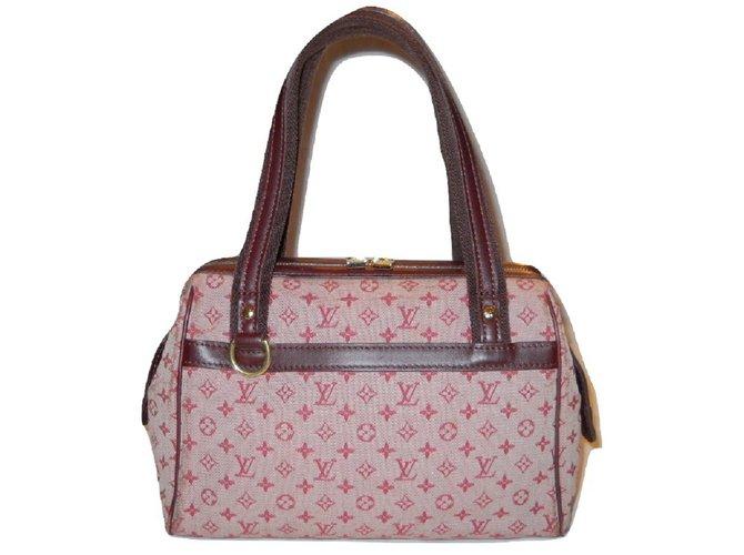 Louis Vuitton Vintage Josephine Pm Mini Monogram Handbags Leather Cloth Dark Red Eggshell Ref