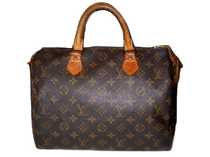 3914105731 Louis Vuitton vintage Speedy 30 Handbags Leather,Cloth Brown,Orange  ref.52382