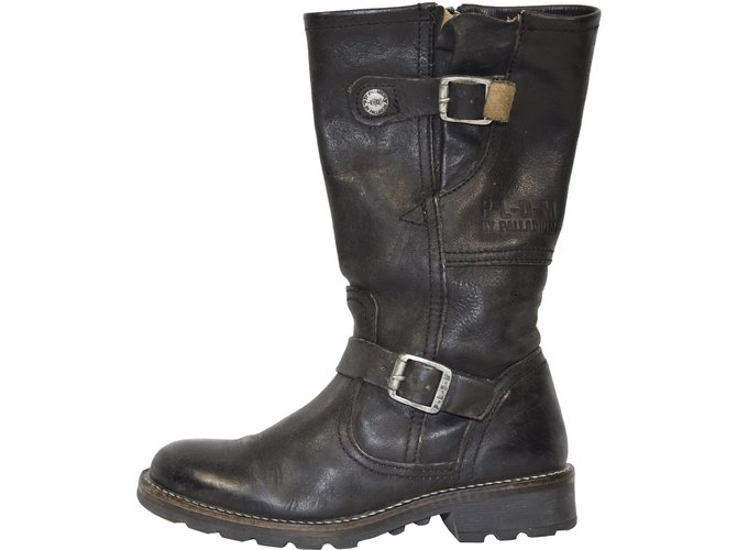 Palladium R040 PALLADIUM BOTTES MOTARDS ENFANT T.30 UK 11.5 Boots Leather Black ref.52668