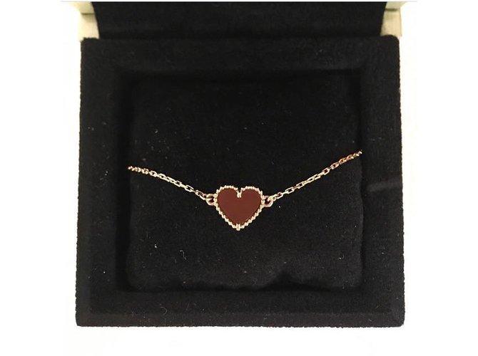 Bracelets Van Cleef & Arpels Bracelet Sweet Alhambra cœur, - Front View - VCARN59L00 - Van Cleef & Arpels Or rose Rouge ref.52729