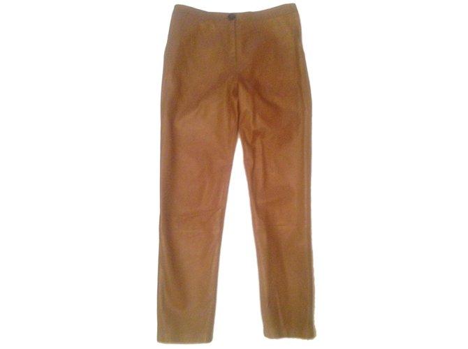Pantalons Yves Salomon Pantalon cuir Cuir Beige ref.52876