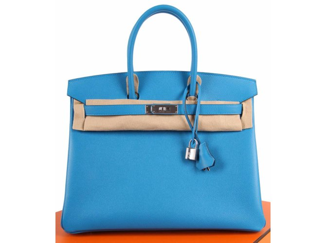 c33380aa42ad Hermès Birkin Epsom 35 Bleu Zanzibar Palladium Hardware - blue Handbags  Leather Blue ref.52901