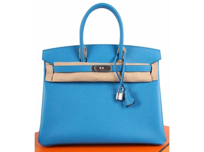 Sacs à main Hermès Birkin 35 Cuir Bleu ref.52901