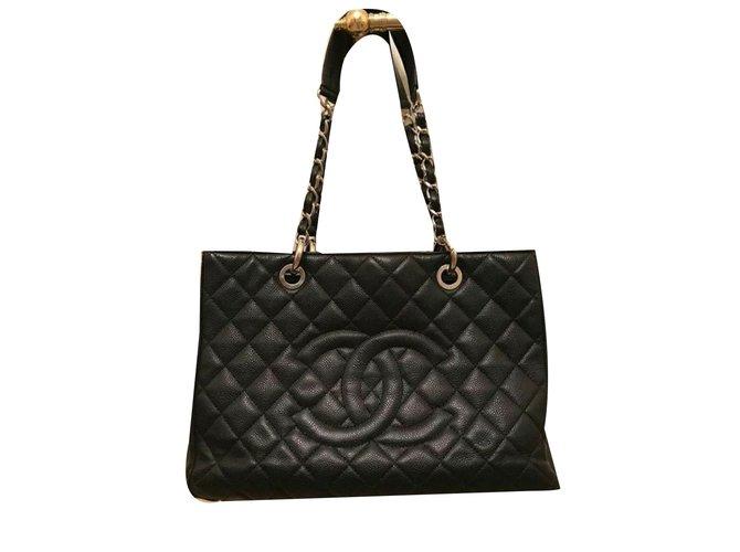d46c5e188b67 Chanel Grand shopping tote Handbags Leather Black ref.53119 - Joli ...