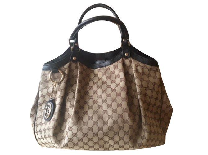 Gucci Sukey Handbag Handbags Cloth Beige Ref 53122