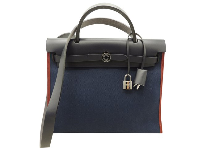 Hermès Herbag Zip 31 Handbags Cloth Navy Blue Ref 53253