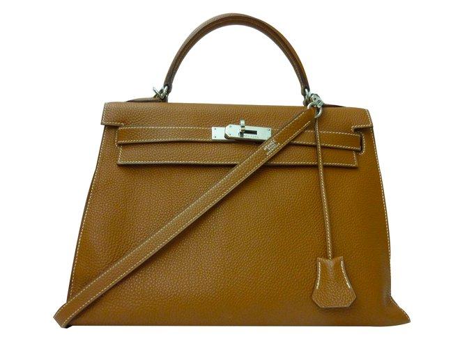 68297740df Sacs à main Hermès Sublime Sac Hermès Kelly 32 sellier en togo Gold en  excellent état