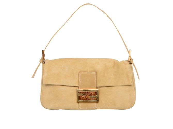 Fendi Baguette Bag New Handbags Suede Beige Ref 53296