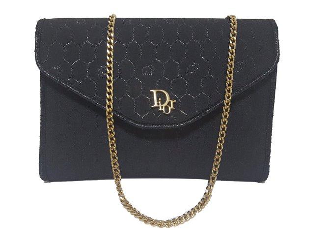 Dior Vintage Clutch Bag Handbags Cloth Black Ref 53413