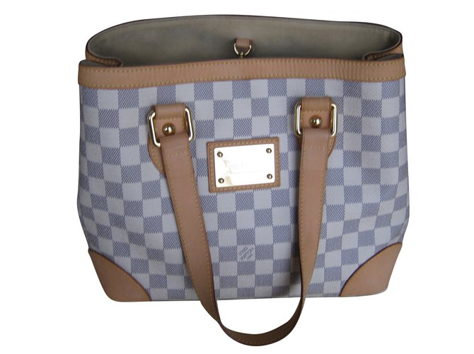 9fb0997a1baf Louis Vuitton Damier Azur Hampstead MM Handbags Leather White ref.53521