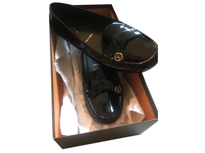 Mocassins Louis Vuitton Parklane Cuir vernis Noir ref.53584