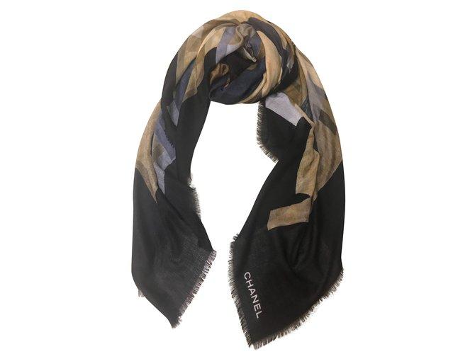 Chanel Scarves Scarves Cashmere Black ref.53623