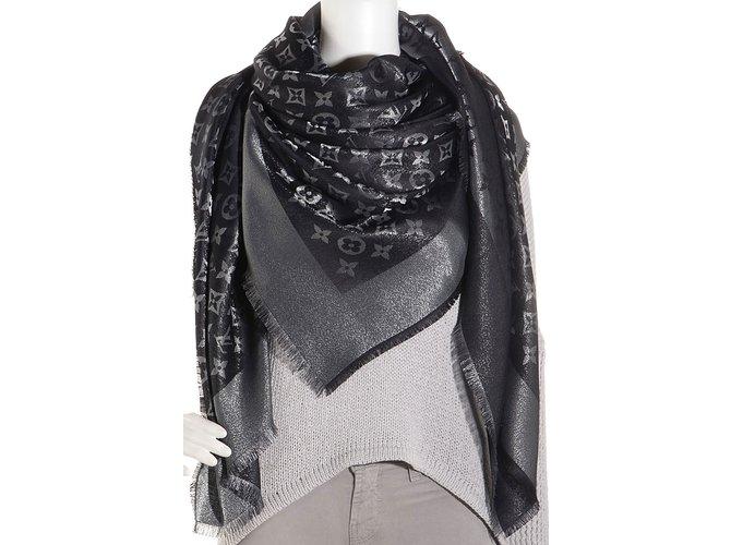 e8c1e962918e3 Louis Vuitton Louis Vuitton Shawl Monogram Shine Black Scarves Other Black  ref.53711