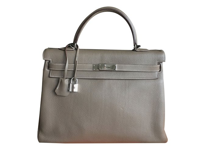 31184fa364 Sacs à main Hermès Kelly 35 cm Togo Etoupe Cuir Taupe ref.53843 ...