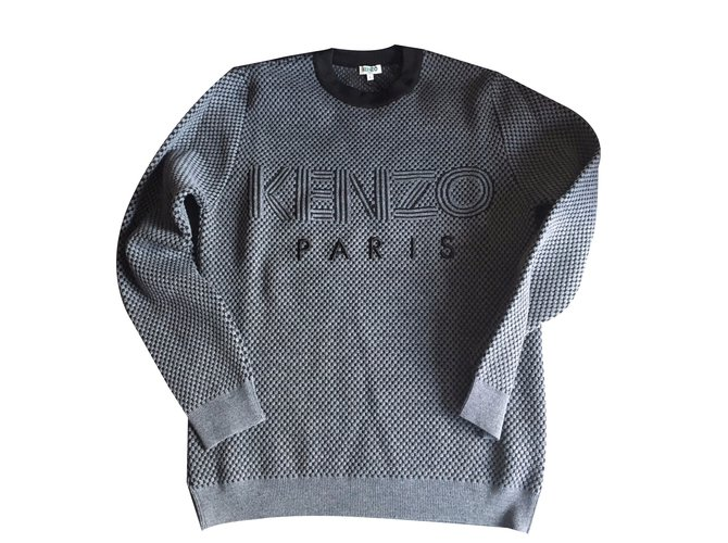 3f0ee561a26 Kenzo Kenzo Mens Wool Blend Jumper Sweaters Wool Dark grey ref.53859 ...
