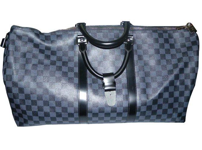 Sacs de voyage Louis Vuitton Keepall 55 cm toile damier graphite Cuir,Toile  Noir, 90fa49628c2