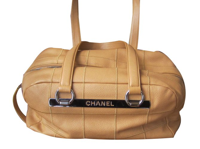 Chanel Bowling Bag Handbags Leather Beige Ref 53878