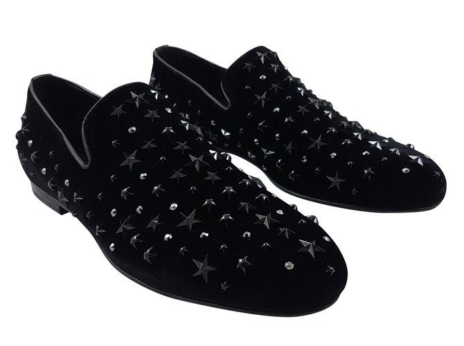 0680f8001d1 Jimmy Choo Jimmy Choo Sloane velvet shoes Loafers Slip ons Velvet Black  ref.53955