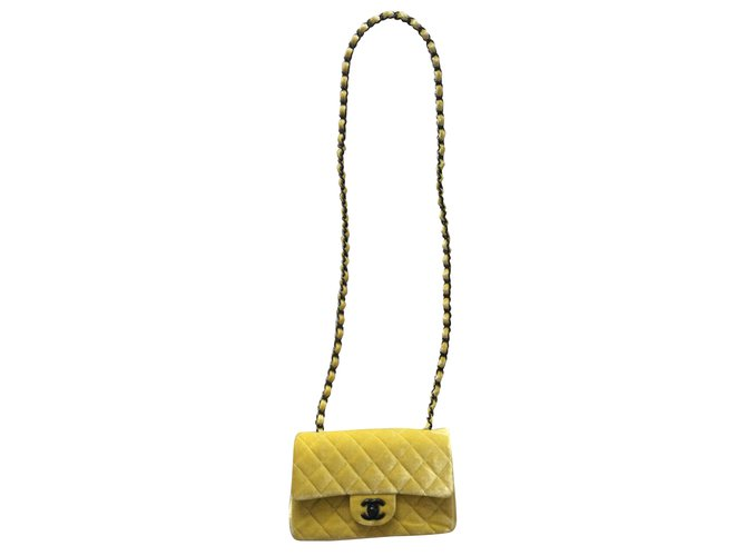 7cb8997ac38 Chanel Classic velvet mini flap bag Handbags Velvet Yellow ref.54037 ...