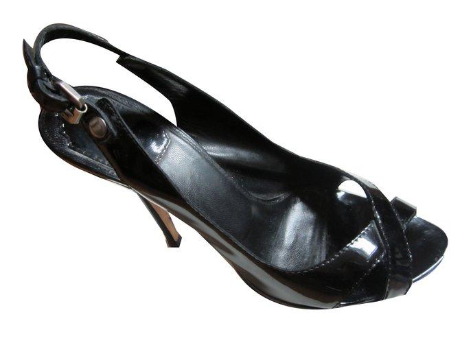 Sandales Dior Sandales Dior vernis noir Cuir Noir ref.54157