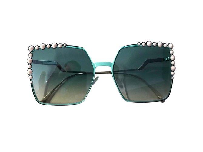 16a3d61328 ... Fendi Sunglasses Sunglasses Metal Blue ref 54163 Joli Closet