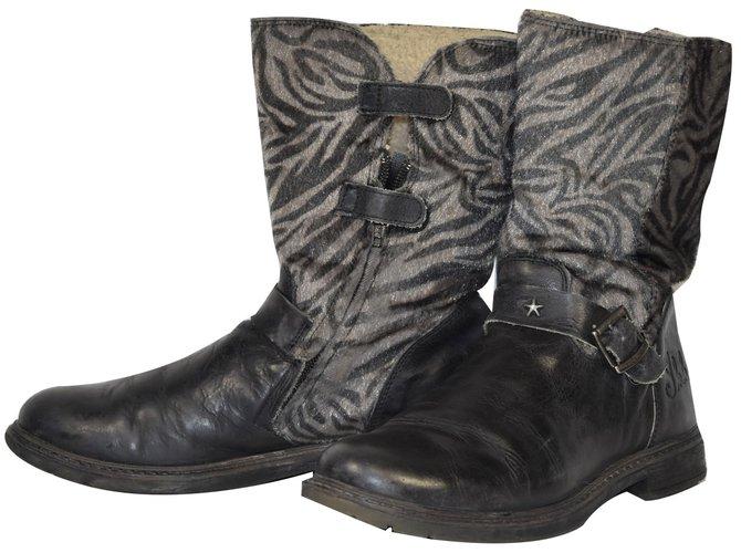 Ikks Boots Boots Leather Dark brown ref.54173