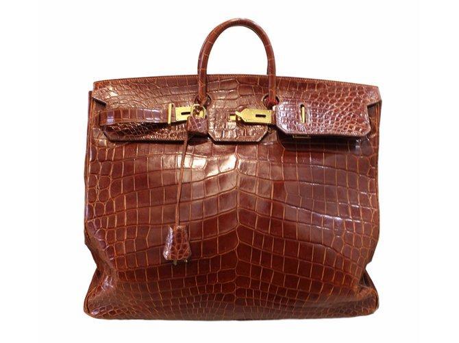 Sacs de voyage Hermès Birkin Voyage croco HAC Cuirs exotiques Marron ref.54209