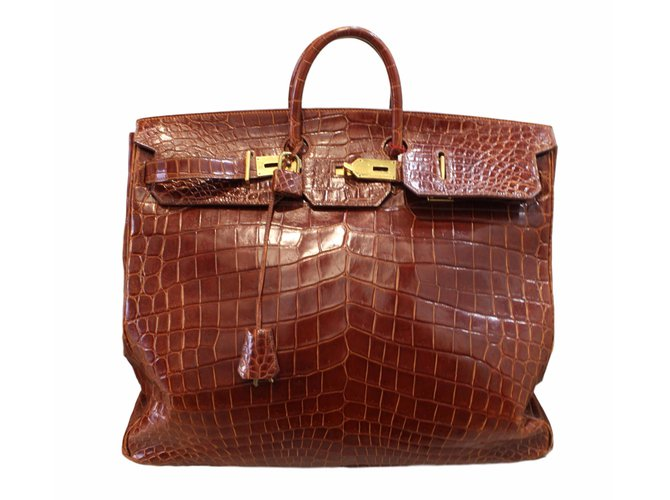 84e6db7c503 ... low price hermès birkin voyage hac travel bag exotic leather brown  ref.54209 ca515 14c48
