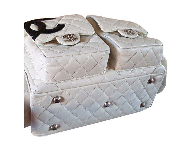 06b2f25014f4 Sacs à main Chanel Cambon reporter Large Cuir Noir,Blanc cassé ref.54249