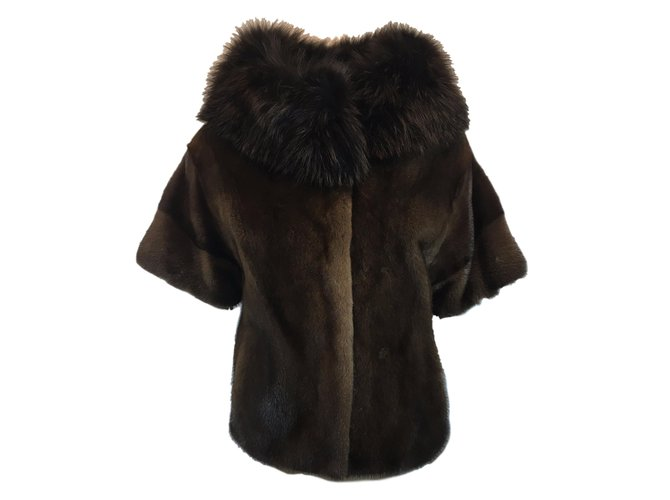 Yves Salomon Mink jacket fox collar Coats, Outerwear Fur Brown ref.54327