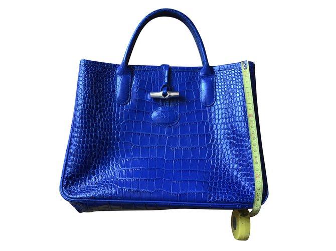 21855769973e Sacs à main Longchamp Longchamp Roseau croco Cuir vernis Bleu ref.54358