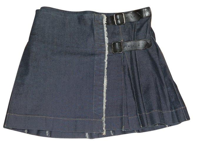 Burberry Skirts Skirts Cotton,Elastane Navy blue ref.54381