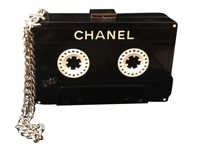 Sacs à main Chanel Minaudiere chanel Plastique Noir ref.54389